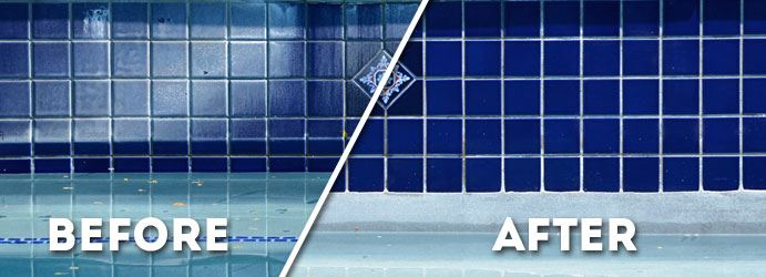 Swimming Pool Tile Cleaning Before and After